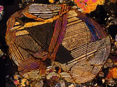 Koltsovo meteorite thin-section under cross-polarized light. Used with permission.