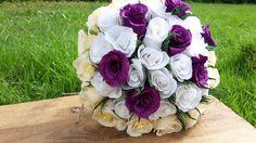 BIG BRIDAL Wdedding Bouquet Purple White Ivory by moniaflowers