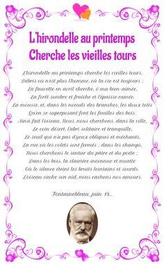 Poésie : L'hirondelle au printemps de Victor Hugo Arc, Ciel, Tours, Beautiful Poetry, Inspirational Quotes, Spring