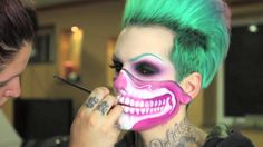 Watch my long time friend & amazing makeup artist, Lipstick Nick create this UNREAL Halloween Skull Bandana look! We show it in time lapse, so you can see ho. Unique Makeup, Creative Makeup, Colorful Makeup, Star Makeup, Fx Makeup, Makeup Ideas, Makeup Tips, Skeleton Makeup, Skull Makeup