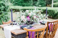 Stunning Purple Centerpiece for a Fall/Winter Wedding | Maggie's Misc Events | The Proper Petal