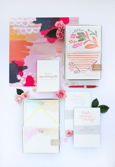 We just added all these pretty things to our Etsy shop. Fresh flowers make me long for spring! (styling by Natalie Heisterkamp) Stationery by Moglea.com