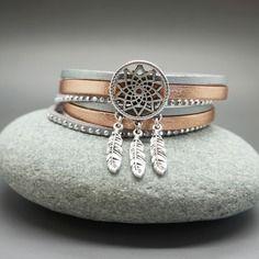 Bracelet multi lien double tour manchette en cuir et daim attrape rêve or rosé argenté