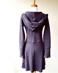 Long hooded sweater dress  organic french terry von econica auf Etsy