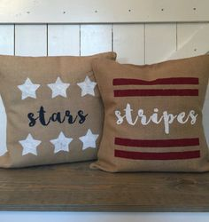 STARS and STRIPES Pillows, Memorial Day pillows, Fourth of July pillows, Summer pillows, Patriotic pillows, Burlap pillows
