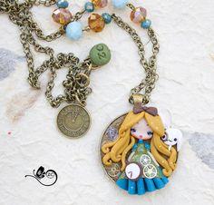 polymer clay necklace / steampunk Alice / by ZingaraCreativa