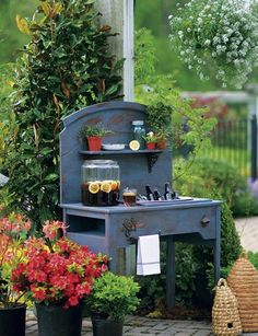 Oh this is SO lovely! UPCYCLED sewing table + headboard = FABULOUS Garden Bar! ♥ LOVE ♥  http://www.facebook.com/TWOwomenANDaHOE
