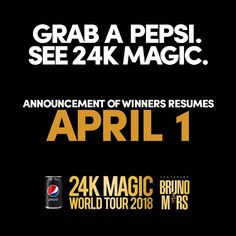 Don't freak out! In observance of the Holy Week, raffle winners from March 28 to March 31 will be announced on April 1, 2018. Send lang nang send ng #GrabAPepsiSee24KMagic entries! Full mechanics: Link in bio Promo runs from until April 15, 2018. Per DOH-FDA-CFRR Permit no. 0053 s. of 2018