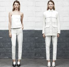 T By Alexander Wang 2014 Spring Womens Presentation - New York Fashion Week - White Denim Worker Utility Jeans Field Jacket Peek-A-Boo Mesh ...