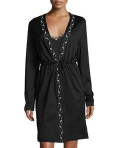 LA PERLA Liaison Embroidered Short Robe, Black. #laperla #cloth #