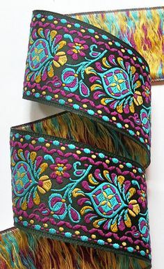 """Shell Collection 1 7/8"""" x 1 yard in Turquoise, Gold, Magenta and Black Woven Jacquard Ribbon - SH7aa"""