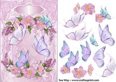 Butterflies in a Flower Frame Decoupage on Craftsuprint designed by Sue Way - A beautiful card front in shades of pink with a pretty flower frame
