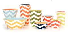 Chevrons seem to be popular. Bold and striking. Paper or tape would make it easy.