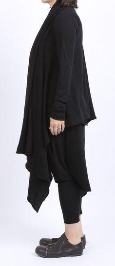 rundholz - Hose Sarouel Wolljersey mit Strick black - Winter 2016 - stilecht - mode für frauen mit format...
