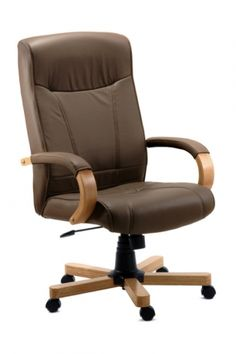 http://www.officeandchairs.co.uk/index.php?webpage=product_detail.php&product_id=17041&cID=2597,2480,2492,2947,3849  Executive leather faced chair with light oak colour wooden arms and matching five star base. Features a gas seat height adjustment and reclining function with tilt tension control.