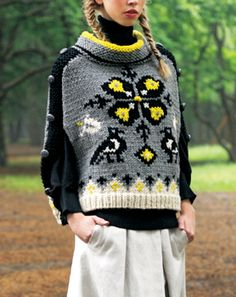 Bird and floral motif knit sweater