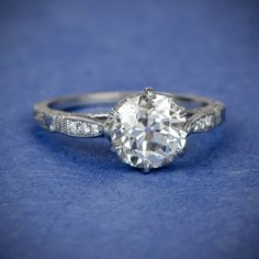 A beautiful Old European Cut Diamond Engagement Ring. Sold by Estate Diamond Jewelry.