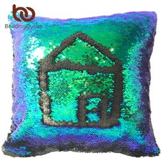 BeddingOutlet Mermaid Sequin Cushion Cover Colorful CoolMagical Sequin Pillowcase Two Side Throw Pillow Case funda cojin