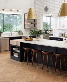 Black and white kitchen design with wood herringbone floors and brass pendant lights Kitchen Reno, New Kitchen, Kitchen Dining, Kitchen Remodel, Kitchen Ideas, Kitchen Island, Kitchen Layout, Kitchen Cabinets, Vogue Living