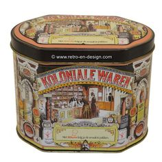 """Vintage tin by Knorr. Koloniale waren Angular oval tin by Knorr with separate lid. """"Colonial goods"""". Very beautiful and rare tin. Pictures of the interior of an old grocery store and a classic car with inscription Maizena. Height: 14 cm. Width: 12 cm. Length: 17,5 cm http://www.mijnwebwinkel.nl/winkel/kenko/en_GB/a-46297097/tins/vintage-tin-by-knorr-koloniale-waren/"""