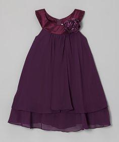 Eggplant Rose Yoke Dress - Toddler & Girls #zulily #zulilyfinds