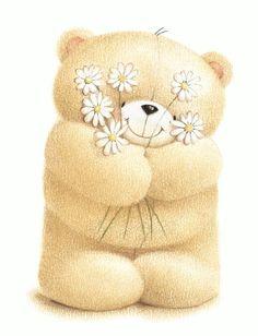 Bear with flowers. Tatty Teddy, Cute Images, Cute Pictures, Calin Gif, Teddy Bear Pictures, Love Bear, Cute Teddy Bears, Bear Art, Illustrations