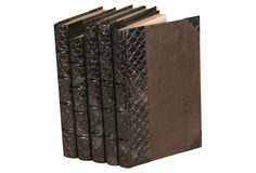 One Kings Lane - Decorative Leather Books - S/5 Exotics Collection, Spotted Fish