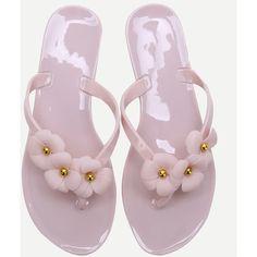 Pink Flower Embellished Flip-Flops ($30) ❤ liked on Polyvore featuring shoes, sandals, flip flops, floral flats, platform shoes, platform flip flops, flower flip flops and embellished sandals