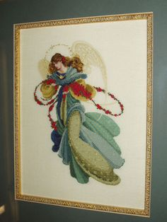 Pre-Raphaelite style angel cross stitch. 34 ct Belfast Linen.