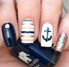 navy + gold nautical nails stripes + anchor nailart, perfect for summer Anchor Nail Designs, Nautical Nail Designs, Nautical Nail Art, Beach Nail Designs, Nail Art Designs, Navy Nail Designs, Nautical Stripes, Navy Nails, Striped Nails