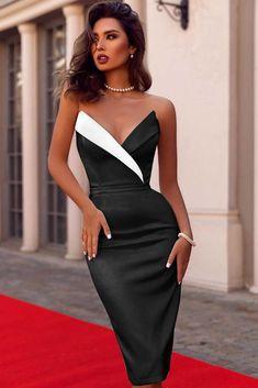 elegant dresses Women Black Strapless Contrast Wrap Sexy Dress - S Elegant Dresses Classy, Elegant Dresses For Women, Party Dresses For Women, Classy Dress, Classy Outfits, Pretty Dresses, Sexy Dresses, Beautiful Dresses, Evening Dresses