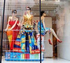 """Moschino Grocery Shopping in London,""""don't forget the eggs,milk and bread girls"""", pinned by Ton van der Veer"""