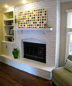 Decorating Obsessed: painted brick fireplace
