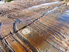 Glacial striations in granite of Canadian Shield - Ontario