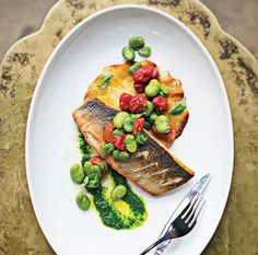 Branzino with basil purée and fava beans at Pazo | Baltimore magazine Photo by Scott Suchman