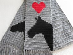 Gray Horse Scarf. Grey crochet scarf with horses and by hooknsaw
