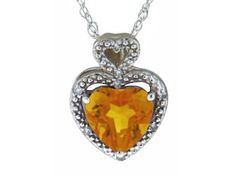 Diamond Yellow Citrine Gemstone Heart Shaped White Gold Pendant Available Exclusively at Gemologica.com