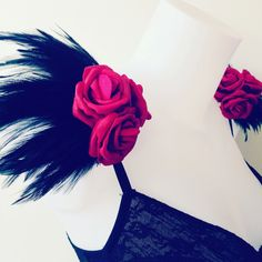 Black feather and red rose epaulettes, feather epauelettes, feather and flower shoulder pieces, floral shoulder pieces, clip on epaulettes by feathersandthreaduk on Etsy