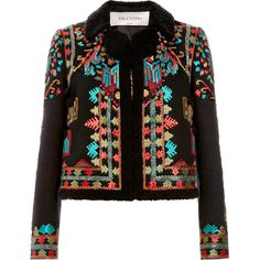 Valentino Cotton Canvas Jacket With Multi Color Embroidery (170,745 MXN) ❤ liked on Polyvore featuring outerwear, jackets, blazers, coats, tops, nero, multi color jacket, valentino jacket, colorful jackets and cotton canvas jacket