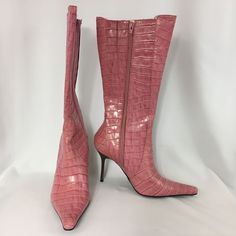 Steve Madden Trixx Pink Crocodile Leather Stiletto Pointed Toe Boots SZ 10B   #SteveMadden #MidCalfBoots #PartyClubwear