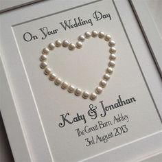 Wedding Day Gift Personalised Pearl Heart on cream card - great wedding gift for special friends gifts frame Wedding Present Ideas, Wedding Day Cards, Great Wedding Gifts, Craft Wedding, Handmade Wedding, Scrabble Crafts, Scrabble Frame, Scrabble Art, Pearl Anniversary
