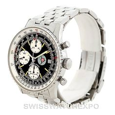 """Sadly, they are scheduled to be disbanded by early 2016. Breitling has ties to the elite pilots of the world, and with this Limited Edition Navitimer, they honor The Patrouille Suisse with an specially-engraved caseback and the """"patrouille suisse"""" name and special emblem on the dial of the watch. Ours is number 664 of only 1,000 made! Outfitted with an original Breitling automatic-winding officially-certified chronometer movement with Chronograph and date functions."""