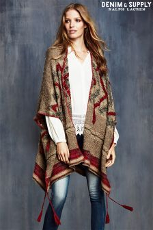 Brown Ralph Lauren Denim and Supply Patterned Poncho