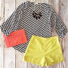 chevron tops & scalloped shorts
