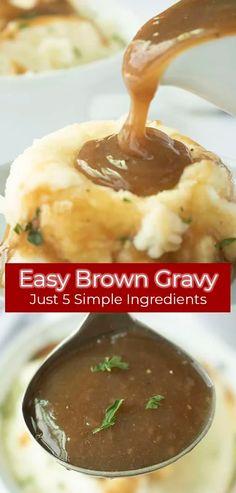 Easy Beef Gravy Recipe, Homemade Gravy Recipe, Simple Brown Gravy Recipe, Brown Gravy Recipe With Flour, Beef Recipes, Cooking Recipes, Beef Tips, Budget Recipes, Quick Recipes