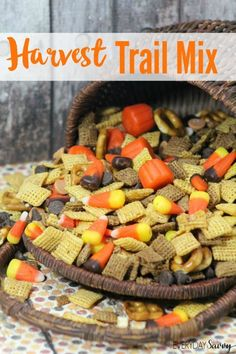 Harvest Fall Trail Mix Recipe - Perfect for a Halloween or harvest party. Also works great as a fun fall snack!
