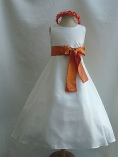 Flower Girl Dresses IVORY with Orange Burnt by NollaCollection