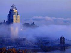 Cincinnati in the early morning fog