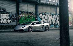 Download wallpapers Lamborghini Gallardo, silver sport car, Italian sports car, silver Gallardo, graffiti