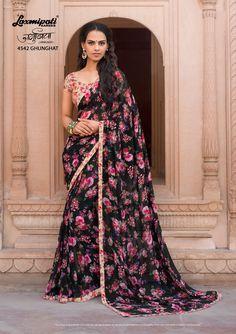 Laxmipati Sarees, Lehenga Style Saree, Georgette Sarees, Sari, Chiffon Saree, Floral Chiffon, Cotton Saree, Floral Print Sarees, Printed Sarees